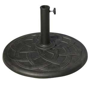 "Outsunny 21.5"" Round Decorative Cast Stone Umbrella Holder Base - Bronze Finish"