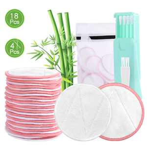 18 Pack Reusable Makeup Remover Pads, AGPTEK Washable Eco-friendly Natural Bamboo Cotton Rounds with 4 Reusable Cotton Swabs & a Laundry Bag, Reusable Facial Pads for All Skin Types. (MU1, 2 Colors)