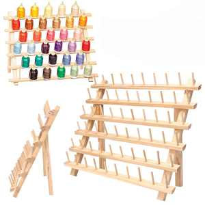 60-Spool Thread Rack, Wooden Thread Holder Sewing Organizer for Sewing Threads, Quilting, Embroidery, Hair-braiding,Made of Hardwood, Sturdy, Freestanding or Wall Mount