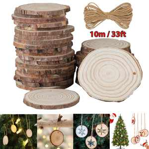 TSV 30pcs Arts Wood Slices, Natural Wood Slices 2.4-2.8 Inches Craft Wood Kit Unfinished Predrilled with Hole & Natural Jute Rope Wooden Circles Tree Slices for Christmas Ornaments Write Paint DIY
