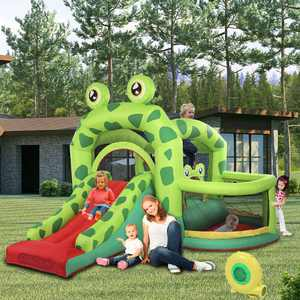 Zimtown Frog Children's Inflatable Bounce Home Small Trampoline Slide Outdoor Amusement Castle Park Toys with UL Certified Blower