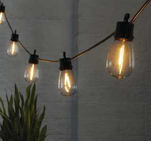 Better Homes Gardens Solar LED String Lights, 15 Filament Bulbs, 34 Foot Length, 120 Lumens
