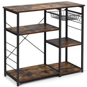Costway Industrial Kitchen Baker's Rack Microwave Stand Utility Storage Shelf W/ 6 Hooks Steel Black