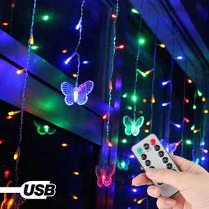 Butterfly Curtain Lights, 8 Modes Fairy Lights String with Remote, IP44 Waterproof, USB Plug in Twinkle Light for Wedding Party Bedroom Indoor Outdoor Christmas Garden Decorations, 96 LED (Multicolor)
