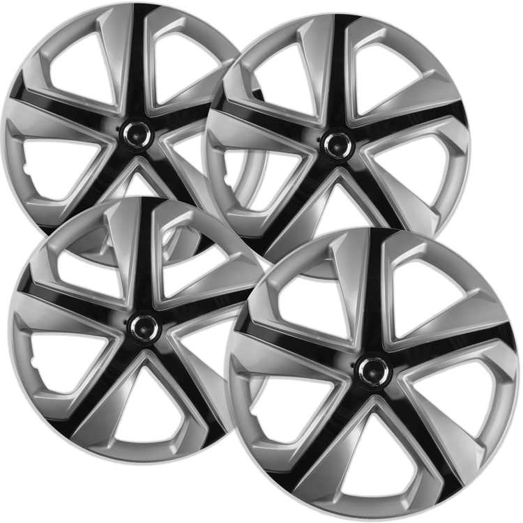 "16"" inch Silver Ice Black Wheel Covers for 2016-2017 Honda Civic - Set of 4"