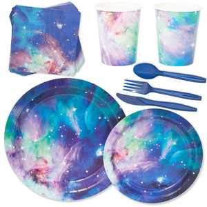 Serves 24 Cosmetic Galaxy Stars Universe Outer Space Party Supplies, 168PCS Plates Napkins Cups, Favors Decorations Disposable Paper Tableware Kit Set for Kids Baby Shower Tea Party Birthday