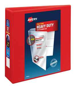 """Avery Heavy-Duty View 3 Ring Binder, 3"""" One Touch EZD Ring, Holds 8.5"""" x 11"""" Paper, Red (79325)"""