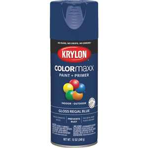 K05535007 COLORmaxx Spray Paint + Primer, Gloss Regal Blue, 12-oz.