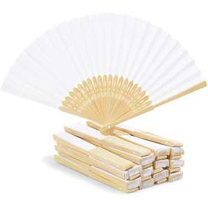 24 Pack Bamboo Hand Fans for Women, 8-inch Folding Hand Held Fans, White