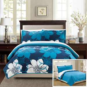 Chic Home 7-Piece Chase Abstract Large Scale Floral Printed King Quilt Set Blue Sheets Included