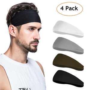 GLiving Mens Headband (4 Pack), Mens Sweatband and Sports Headband for Running, Cycling, Yoga, Basketball - Stretchy Moisture Wicking Unisex Hairband
