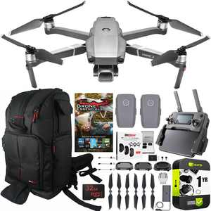 DJI Mavic 2 Pro Drone with Hasselblad Camera Essential Max Flight Bundle with 2 Batteries, Deco Gear Drone Backpack Case, Filter Kit, Photo Video Editing Software Suite and 1 Year Warranty Extension