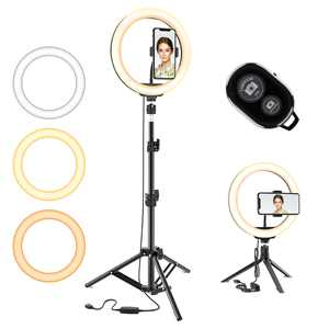 10.2 Selfie Ring Light w/ Tripod Stand & Phone Holder 3 Modes 10 Brightness Level 120 LED Bulbs Dimmable Selfie Ringlight for Live Stream Makeup YouTube Video Photography Shooting