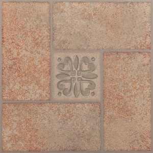 Achim Nexus Self Adhesive Vinyl Floor Tile - 20 Tiles/20 Sq. ft., 12 x 12, Beige Terracotta Motif Center