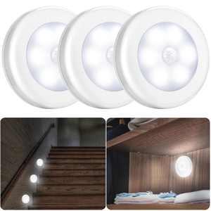 Motion Sensor Light, EEEkit 3-Pack Cordless Indoor Outdoor 6 LED Motion Sensor Light  Battery-Powered Auto On/Off Night Light for Hallway, Stair, Closet, Bedroom, Kitchen, White
