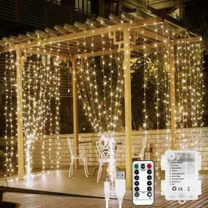 Fairy Curtain Lights Battery or USB Plug in, 9.8 x 9.8 ft Curtain of String Lights with Remote, 300 LED Indoor Outdoor Decorative Christmas Twinkle Lights for Bedroom, Patio, Party Wedding Backdrop