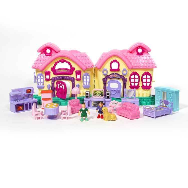 ihubdeal 21pcs Cottage My Sweet Surprise Fold-and-Go Dollhouse Light & Sound Mini Doll House