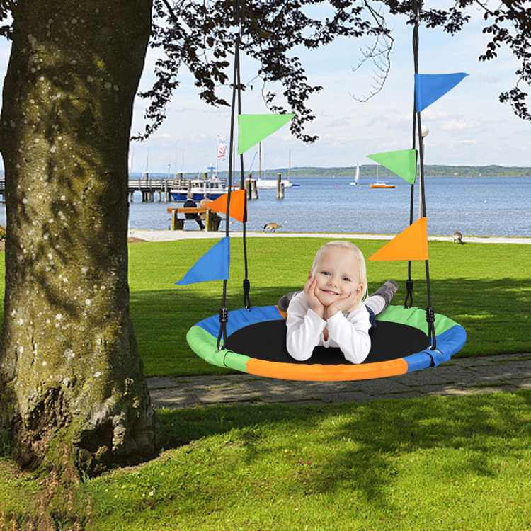 Patio Swing for Children, Outdoor Round Tree Swing for Kids Toddler, 900D Oxford Cloth Round Swing, Tree Swing Seat with Hook/Swing/Belt Bunting, Porch Swing Indoor/Outdoor Play, Playground, W8326