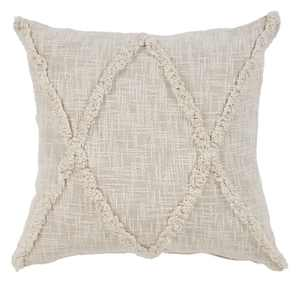 """LR Home Carlton Khaki Diamonds Natural 20"""" x 20"""" Indoor Square Hand - Crafted Indoor Throw Pillow, Counter per Pack 1"""