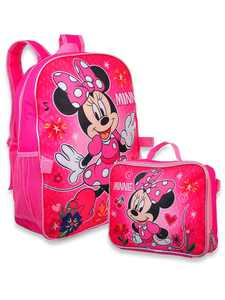 """Minnie Mouse Girl's 16"""" Backpack W/Detachable Lunch Box"""