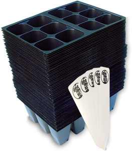 Seedling Starter Trays - 720 Cells (120 Trays - 6 Cells per Tray) + 5 THCity Stakes