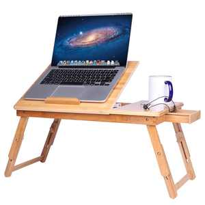 Ktaxon Portable Bamboo Laptop Desk Serving Bed Tray with Drawer