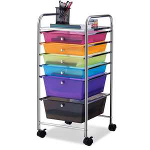 Costway 6 Drawer Rolling Storage Cart Tools Scrapbook Paper Office School Organizer Colorful