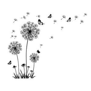 Home Art Decor PVC Dandelion Butterfly Pattern Wall Sticker Decal Mural