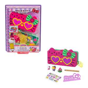 Hello Kitty and Friends Minis Watermelon Beach Party Pencil Case Playset (7.5-in / 19.1-cm) with 2 Sanrio Figures and Stationery Supplies, Great Gift For Kids Ages 4Y+