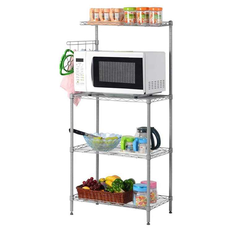 Ktaxon 4 Tier Microwave Stand Storage, Kitchen Wire Shelving Baker's Rack