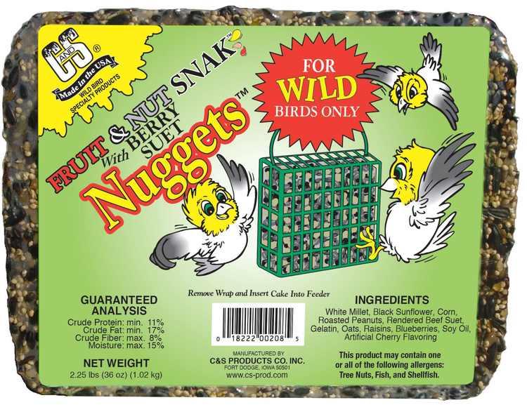 C&S Fruit & Nut Snak, Seed & Suet Cake, 36 oz, Wild Bird Seed Cake, 6 Pack