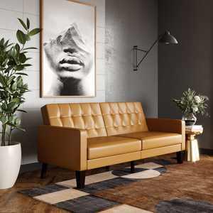 Desert Field Bronx Reclining Sofa , Camel Brown Fabric