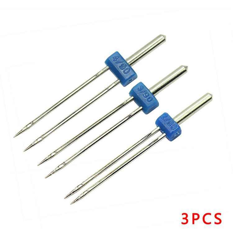 3pcs Double Twin Needle Sewing Machine Needles Lot Size 2.0/90, 3.0/90, 4.0/90