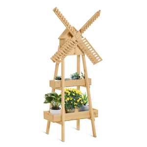Outsunny 2 Tier Wood Flower Stand with Windmill, Garden Decor Display Rack with Built-in Mini Bird House, Great for Indoor/Outdoor