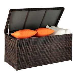 UBesGoo 135 Gallon Outdoor Patio Resin Wicker Deck Storage Box Brown