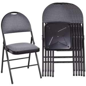 Costway Set of 6 Folding Chairs Fabric Upholstered Padded Seat Metal Frame Home Office
