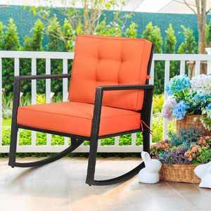 Gymax Outdoor Wicker Rocking Chair Patio Lawn Rattan Single Chair Glider w/ Cushion