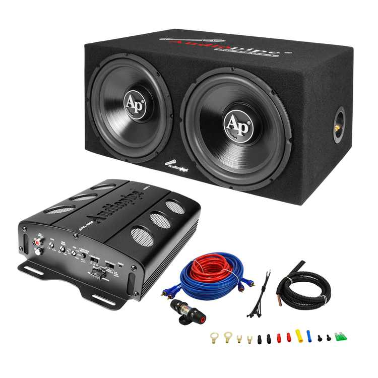 Audiopipe APSB-1299PP 12 Inch Car Audio Subwoofers, 500 Watt Amp, and Wire Kit