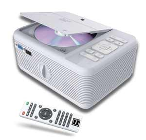 RCA LCD Home Theater Projector with DVD Player and Bluetooth, White , RPJ140