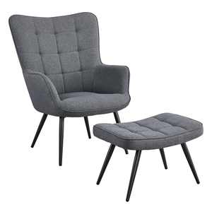 SmileMart Modern Accent Chair and Ottoman Set Contemporary Upholstered Lounge Chair Biscuit Tufting, Gray Fabric
