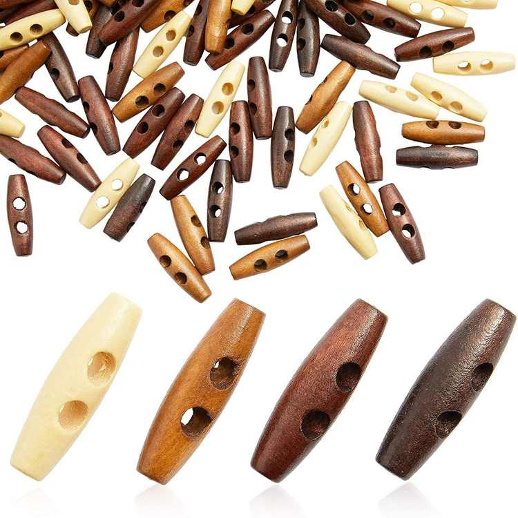 200 Pcs Decorative Wood 2-Hole Toggle Buttons for Crafts and Sewing
