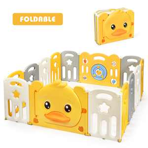 Costway 14-Panel Foldable Baby Playpen Kids Yellow Duck Yard Activity Center w/ Sound