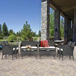 Gymax 8PC Rattan Patio Conversation Set Outdoor Furniture Set Garden w/ Cushion