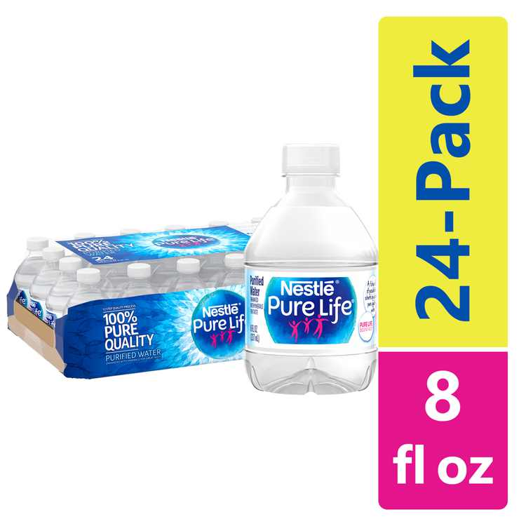 Nestle Pure Life Purified Water, 8 fl oz. Plastic Bottled Water (Pack of 24)