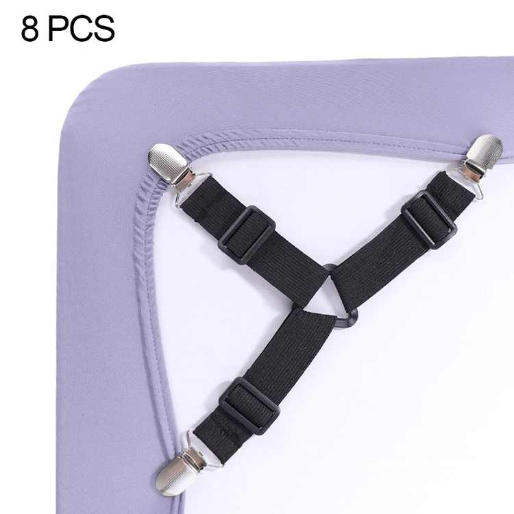"""""""8Pcs Bed Sheet Fasteners, Adjustable Triangle Elastic Sheet Band Straps Suspenders Corner Gripper Holder Clip for Fitted Bed Sheets, Mattress Pad Covers, Sofa Cushion"""""""