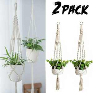 2 Pack Macrame Plant Hangers Indoor Hanging Planter Basket with Wood Beads Decorative Flower Pot Holder No Tassels for Indoor Outdoor Home Decor 41 Inch, Ivory
