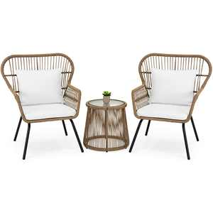 Barton 3PCS Outdoor Patio Wicker Chat Conversation Bistro Set (2) Chairs and Side Table, Beige