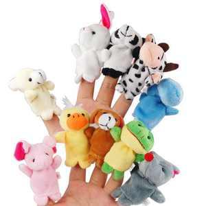 10pcs Cartoon Animal Finger Puppets Soft Velvet Dolls Props Toys (Random Pattern)