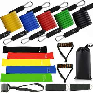 (17 Pcs Set) Resistance Bands Exercise Band Set for Home Workouts Physical Therapy