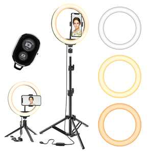"""10.2"""" 120Pcs LED Selfie Ring Light 10 Brightness Level 3 Light Modes w/ Mini & Extendable Tripod Stand & Phone Holder Dimmable Ringlight for Camera Smartphone YouTube Photography Video Shooting Makeup"""